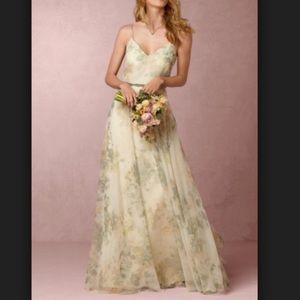 "BHLDN Jenny Yoo ""Inesse"" Chiffon Print Sage Dress"